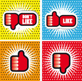 Les bannières de style de bande dessinée d'art de bruit avec des pouces lèvent le bouton - comme des Bu Photographie stock libre de droits