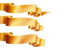 Les bannières horizontales de rubans d'or ont placé l'appartement d'isolement dessus sur le fond blanc Photographie stock