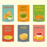 Les bannières indiennes de nourriture, cartes, affiches ont placé, des couleurs de vintage illustration stock