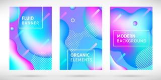 Les bannières liquides au néon de gradient ont placé le bleu rose illustration stock