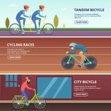 Les bannières ont placé avec les illustrations horizontales de divers cyclistes illustration de vecteur