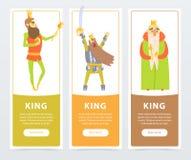 Les bannières verticales ont placé avec la sorte différente de rois, pleine d'assurance avec le sceptre, guerrier avec l'épée Car illustration libre de droits