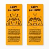 Les bannières verticales oranges de concept heureux de Halloween ont placé avec l'église de château de tombes de cercueil de poti Images stock