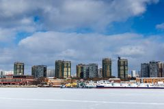 Les banques de la rivière de Moscou image stock