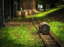 Les barils de Bourbon le long du whiskey traînent près de Lexington Kentucky Photo libre de droits