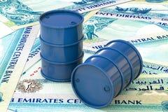 Les barils de pétrole bleus se trouvent sur vingt dirhams de billet de banque, Emirats Arabes Unis Images stock