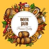 Les barils, les tasses et les casse-croûte de bar de bière dirigent l'affiche illustration libre de droits