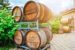 Les barils pour le vin et le raisin baguent l'élevage tout près Photos stock