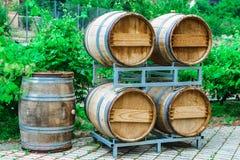 Les barils pour le vin et le raisin baguent l'élevage tout près Photographie stock libre de droits
