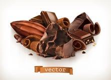 Les barres et les morceaux de chocolat, les copeaux et le cacao portent des fruits Illustration de vecteur illustration libre de droits