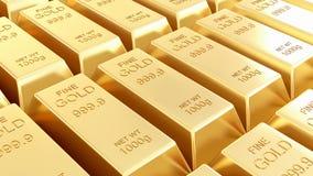 Les bars d'or ont isolé Images libres de droits