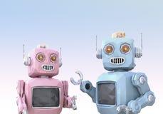 Les bas poly robots de style sont causerie appréciée les uns avec les autres Image libre de droits