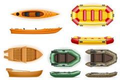les bateaux à rames réglés dirigent l'illustration d'isolement sur le fond blanc illustration stock