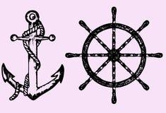 Les bateaux ancrent et roulent Photographie stock libre de droits