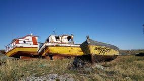 Les bateaux - grande île de terre du feu - no man's land loin de civilisation image libre de droits