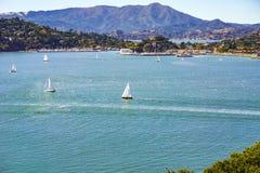 Les bateaux naviguent dans la crique de belvédère un jour clair d'automne, San Francisco Bay, la Californie photographie stock libre de droits