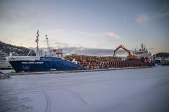 Les bateaux ont téléchargé le bois de construction Photographie stock