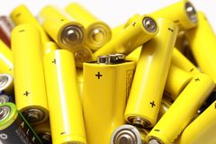 Les batteries utilisées réutilisent Images stock