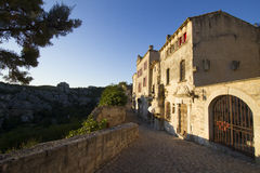 Les Baux-de-Provence in late afternoon sunshine. Les Baux-de-Provence, labelled one of the most beautiful villages of France Stock Image