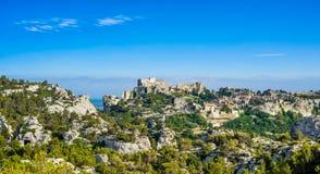 Les Baux de Provence village panoramic view. France, Europe. Stock Photos