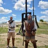 Les Baux, guerrieri medievali, Francia Fotografie Stock