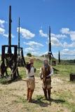Les Baux, mittelalterliche Krieger, Frankreich Stockfotografie