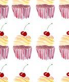 Les beaux beaux petits gâteaux délicieux savoureux délicieux mignons tendres lumineux du dessert deux d'été avec la cerise rouge  illustration de vecteur