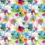 Les beaux beaux taches et filets colorés abstraits mignons graphiques artistiques lumineux merveilleux modèlent l'aquarelle Photos libres de droits