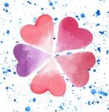 Les beaux cinq coeurs aiment le croquis de main d'aquarelle de jet de fleur illustration stock
