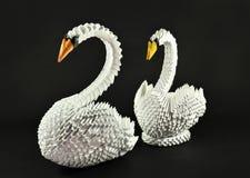 Les beaux couples blancs d'origami de cygnes, empaquettent fait Images libres de droits
