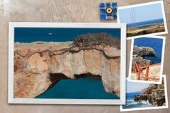 Les beaux instantanés de la diverse Chypre aménage en parc dans les cadres en bois disposés sur le fond rustique, avec l'espace d Photographie stock