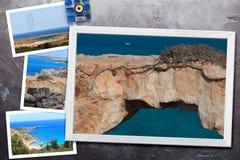 Les beaux instantanés de la diverse Chypre aménage en parc dans les cadres en bois disposés sur le fond rustique, avec l'espace d Photos stock