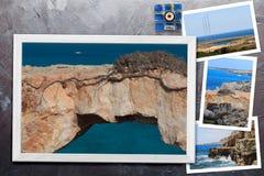 Les beaux instantanés de la diverse Chypre aménage en parc dans les cadres en bois disposés sur le fond rustique, avec l'espace d Images stock
