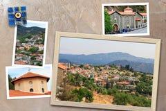 Les beaux instantanés de la diverse Chypre aménage en parc, les villages, monastère dans les cadres en bois disposés sur le fond  Images libres de droits