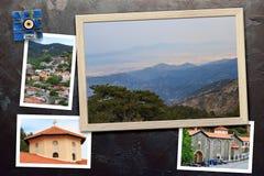 Les beaux instantanés de la diverse Chypre aménage en parc, les villages, monastère dans les cadres en bois disposés sur le fond  Images stock