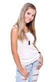 les beaux jeans de crabot étiquettent le femme Image libre de droits