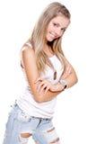 les beaux jeans de crabot étiquettent le femme Photo libre de droits
