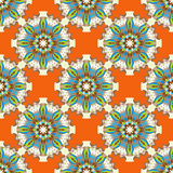 Les beaux objets colorés sur le modèle sans couture de fond orange abstrait dirigent l'illustration Photos stock