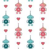 Les beaux robots mignons de bande dessinée dans le vecteur sans couture d'amour modèlent l'illustration de fond Photographie stock libre de droits