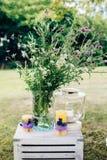 Les belles épines magiques rêveuses féeriques de bardane, camomille fleurit dans le grand pot en verre Photographie stock