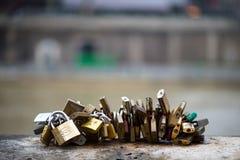 Les belles et colorées serrures d'amour attachées ensemble pour l'amour souhaite dans un pont dans des Frances de Paris Photo stock