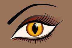 Les belles femmes observent avec les verres de contact jaunes de chat illustration libre de droits