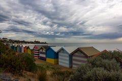 Les belles maisons se baignantes à Brighton échouent à Melbourne, photos libres de droits