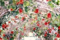 Les belles roses rouges fleurissant dans le métal percent un tunnel pour le fond ou la texture, jour du ` s de Valentine images stock