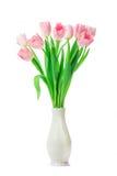 Les belles tulipes roses fleurit dans le vase d'isolement sur le backgrou blanc Photos stock