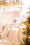 Les belles vacances ont décoré la pièce avec l'arbre de Noël image libre de droits