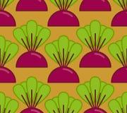 Les betteraves élèvent le modèle sans couture Légume sur le fond de jardin illustration libre de droits