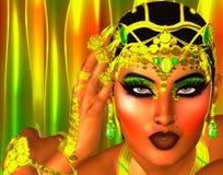 Les bijoux d'or, se ferment vers le haut du beau visage Image libre de droits