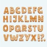 Les biscuits d'alphabet de Noël ou de nouvelle année ont placé avec l'illustration de vecteur de lustre Lettres texturisées d'iso illustration libre de droits