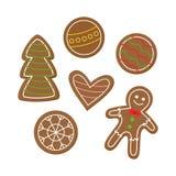 Les biscuits de pain d'épice de Noël dirigent des icônes illustration de vecteur